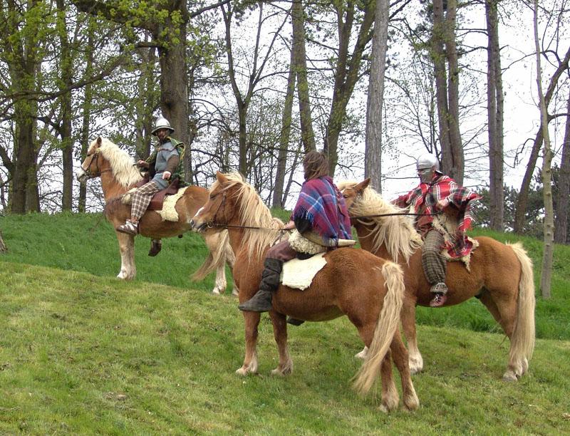 organisation et reconstitution guerre des gaules, avec Cavaliers celtes et gaulois de la cavalerie des guerriers du village gaulois. Ils monte soit à cru, soit avec des selles gauloises à quatre 4 pommeaux - organisation fete gauloise celte